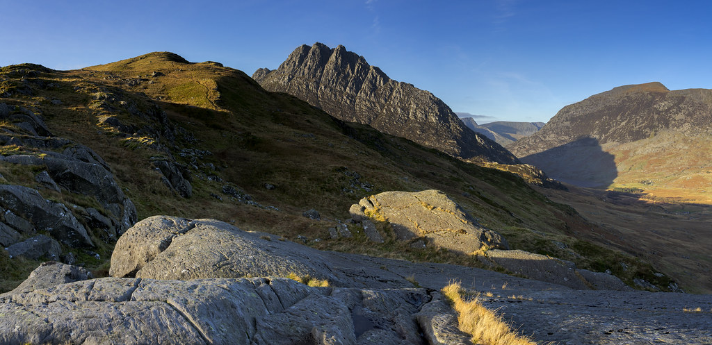 Tryfan and Ogwen on a sunny morning from Braich y Ddeugwm by David Dear