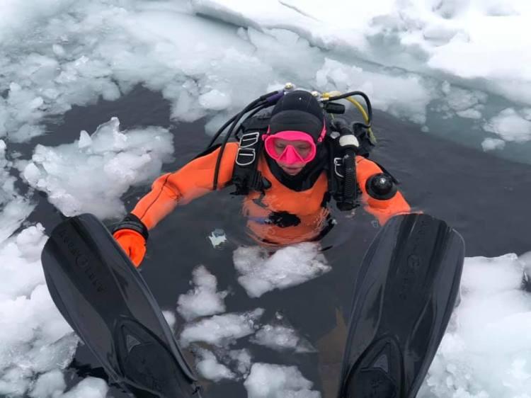 Stephanie in an ice hole C