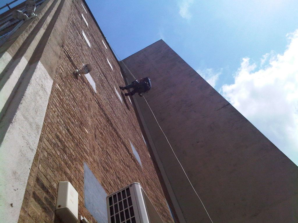 Charity Abseiling Down a Building