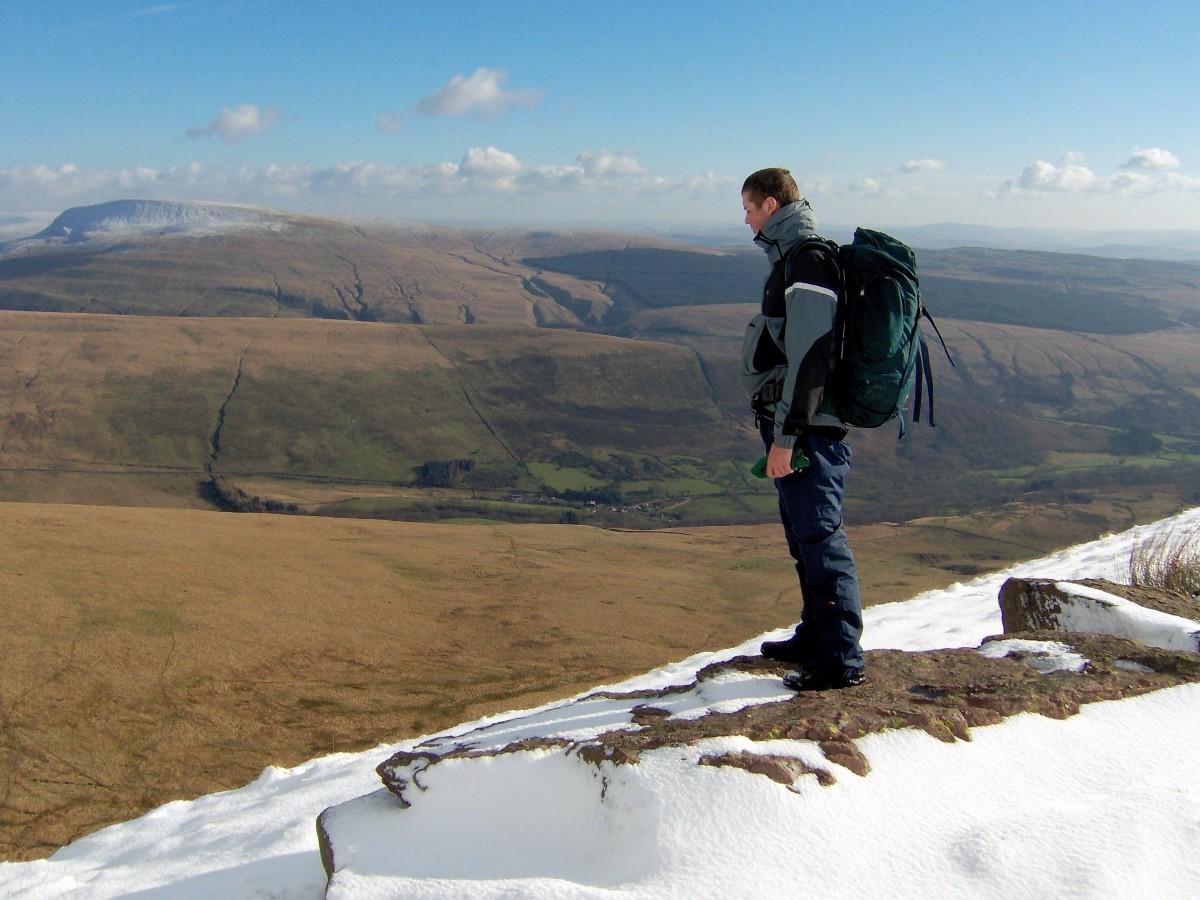 Fan Brycheiniog ridge overlooking the Black Mountain towards the central Beacons