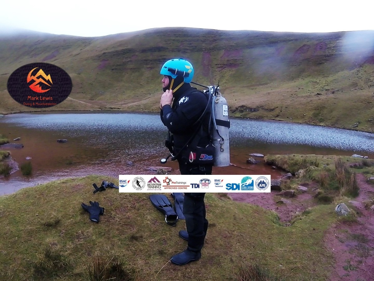 Mark Lewis Diving & Mountaineering Instructor diving at Llyn Cwm Llwch in the Brecon Beacons