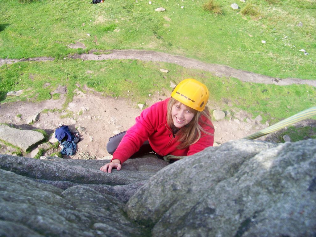 Rock Climbing at Windgather Rocks in the Peak District.