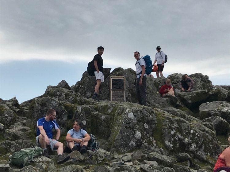 Great Gable via Sphinx Ridge on the summit memorial.