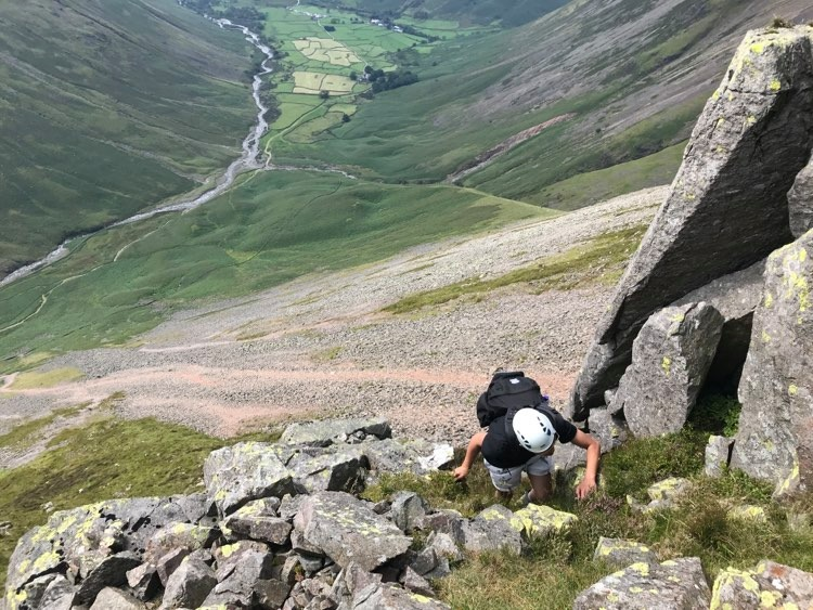 Great Gable via Sphinx Ridge and climbers Traverse with Wasdale head in the background.