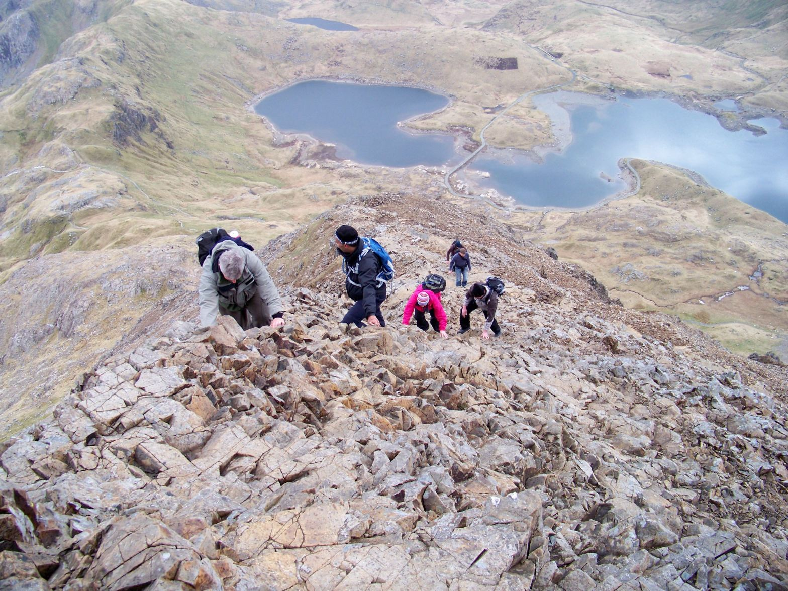 Scrambling Crib Goch, North Wales