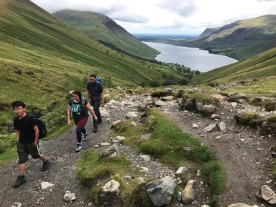 Hiking Scafell with Wastwater behind