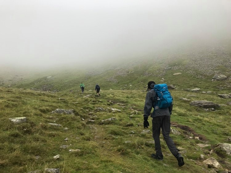 Hiking up Scafell with Cloud layer