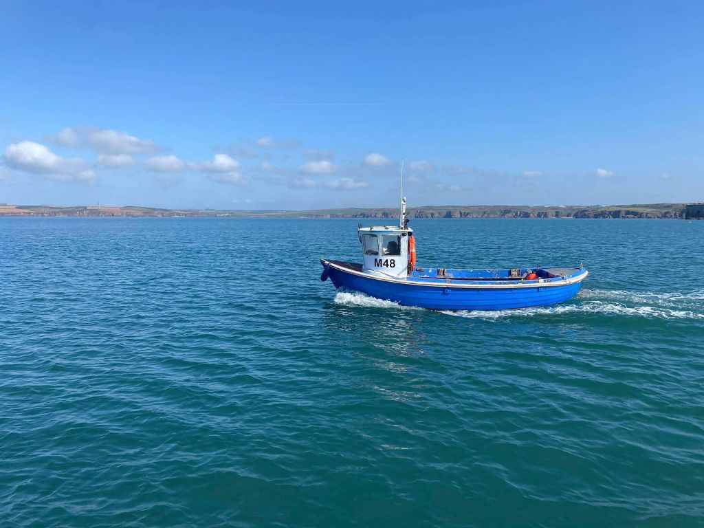 FV Living Waters - hand diving scallop boat in West Wales